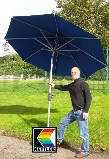 kettler hks kurbel sonnenschirm schirm 250 cm blau silber frei haus ebay. Black Bedroom Furniture Sets. Home Design Ideas