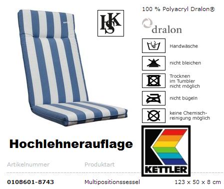 gartenm bel kettler hks sessel rimini hochlehner anthrazit auflage blau weiss ebay. Black Bedroom Furniture Sets. Home Design Ideas