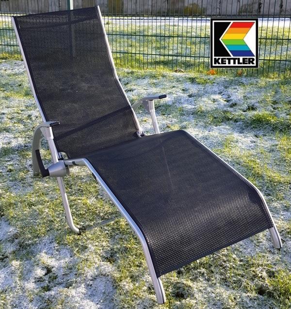 kettler hks alu b derliege saunaliege tampa silber schwarz 01710 040 frei haus ebay. Black Bedroom Furniture Sets. Home Design Ideas