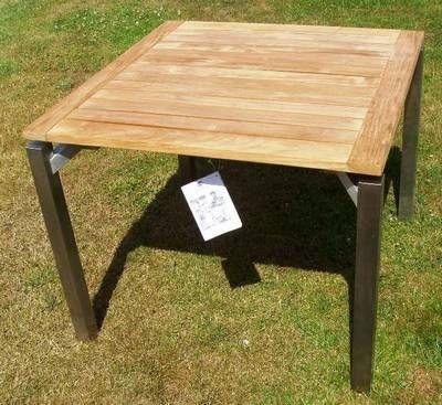 kettler viereck tisch cubic edelstahl teak frei haus ebay. Black Bedroom Furniture Sets. Home Design Ideas