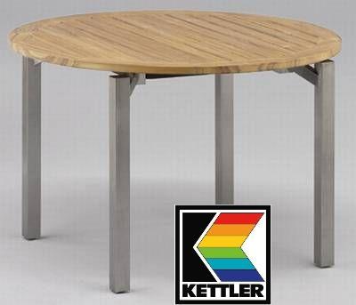 Kettler Hks Tisch Cubic Rund Edelstahl Teak Frei Haus Ebay