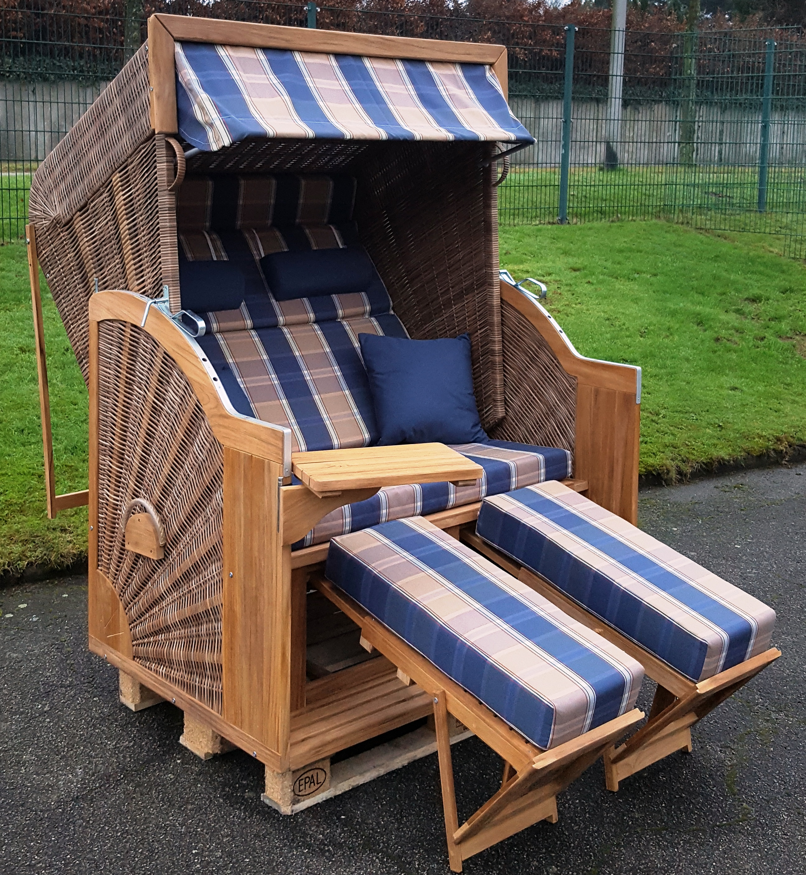 devries comfort strandkorb pure xl teak pe griseum stoff 428 zubeh r montiert ebay. Black Bedroom Furniture Sets. Home Design Ideas