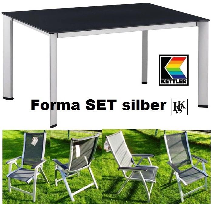 kettler hks gartenm bel set forma silber sessel tisch komplettset frei haus top ebay. Black Bedroom Furniture Sets. Home Design Ideas