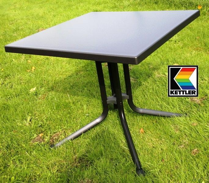 kettler alu klapptisch beistelltisch tisch 80x80 cm grau grau kettalux plus top ebay. Black Bedroom Furniture Sets. Home Design Ideas