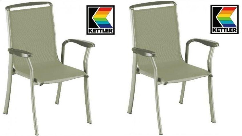 Sessel Design Kliker   2 X Kettler Stapelsessel Sessel Liane Alu Kakisilber Outdoorgewebe