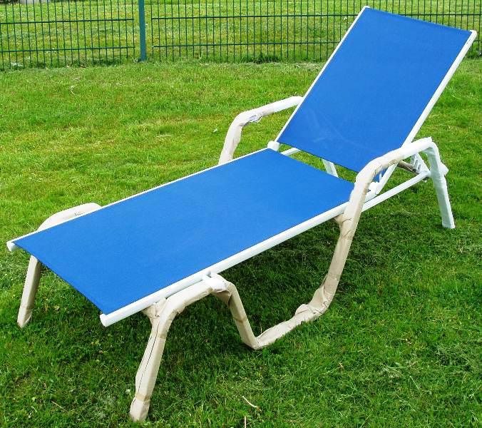 kettler gartenliege stapelliege liege basic blau weiss ebay. Black Bedroom Furniture Sets. Home Design Ideas
