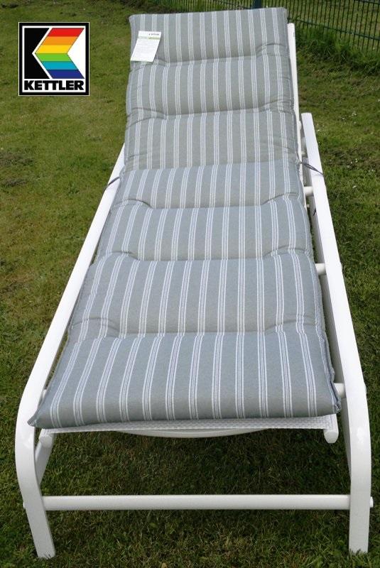 kettler liegen auflage liegenauflage grau weiss streifen 0108404 8720 frei haus ebay. Black Bedroom Furniture Sets. Home Design Ideas