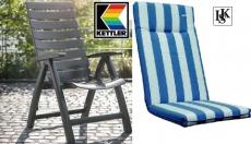 KETTLER SESSEL RIMINI HOCHLEHNER ANTHRAZIT + AUFLAGE blau-weiß