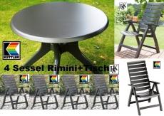 KETTLER HKS GARTENMÖBEL 4 SESSEL RIMINI HOCH + TISCH 100 CM RUND