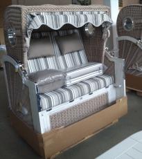 DEVRIES LUXUS MAHAGONI STRANDKORB BULLAUGEN ALBATROS XL Vintage PE white kubu PURE STOFF DESSIN 455