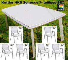 KETTLER HKS SET 6 STAPELSESSEL SCIROCCO + VARICOR TISCH