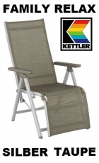 KETTLER RELAXSESSEL RELAXLIEGE FAMILY  SILBER TAUPE