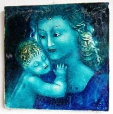 KARLSRUHER MAJOLIKA WANDFLIESE WANDKACHEL KACHEL FLIESE ERWIN SPULER Madonna mit Kind