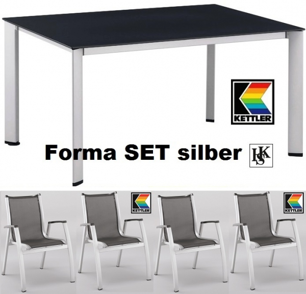 KETTLER HKS GARTENMÖBEL SET FORMA SILBER SESSEL TISCH