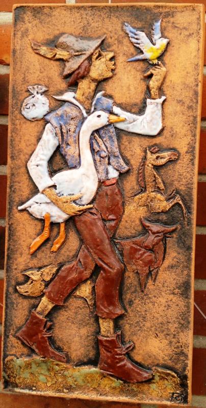 Karlsruher Majolika Wandplatte Wandfliese Wandbild Hans im Glück