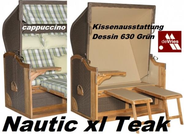 DEVRIES STRANDKORB NAUTIC XL TWISTED CAPPUCCINO+KISSEN DESSIN648