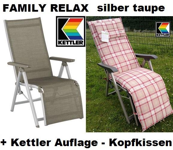 KETTLER RELAXSESSEL RELAXLIEGE FAMILY MIT AUFLAGE 8727 + Kopfkis