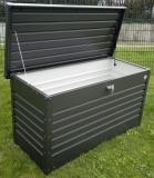 FREIZEITBOX KISSENTRUHE UNIVERSALBOX 160cm dunkelgrau montiert