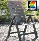 KETTLER HKS SET 4 SESSEL RIMINI HOCH + AUFLAGEN + TISCH 100 CM RUND