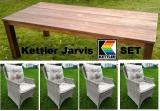 KETTLER GRUPPE JARVIS 4 SESSEL  WHITE WASH + 8 AUFLAGEN NATUR + TEAKTISCH Mojanda