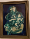 KARLSRUHER MAJOLIKA WANDFLIESE WANDKACHEL KACHEL FLIESE Madonna mit Kind von ERWIN SPULER