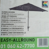 KETTLER KURBELSCHIRM EASY ALLROUND 300 cm rund anthrazit/anthrazit