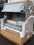 DEVRIES LUXUS MAHAGONI STRANDKORB BULLAUGEN ALBATROS XL Vintage PE White Kubu PURE STOFF DESSIN 444