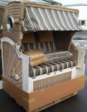 DEVRIES LUXUS MAHAGONI STRANDKORB BULLAUGEN ALBATROS XL Vintage PE White Kubu PURE STOFF DESSIN 440
