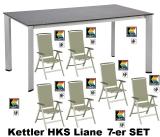 KETTLER HKS 8er-SET SESSEL TISCH HOCKER LIANE KAKISILBER-KAKI