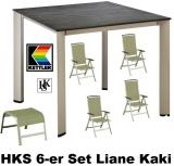 KETTLER HKS 6er-SET SESSEL TISCH HOCKER LIANE KAKISILBER-KAKI