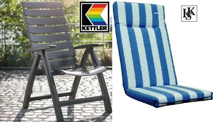 gartenm bel kettler hks sessel rimini hochlehner anthrazit auflage blau weiss ebay. Black Bedroom Furniture Sets. Home Design Ideas