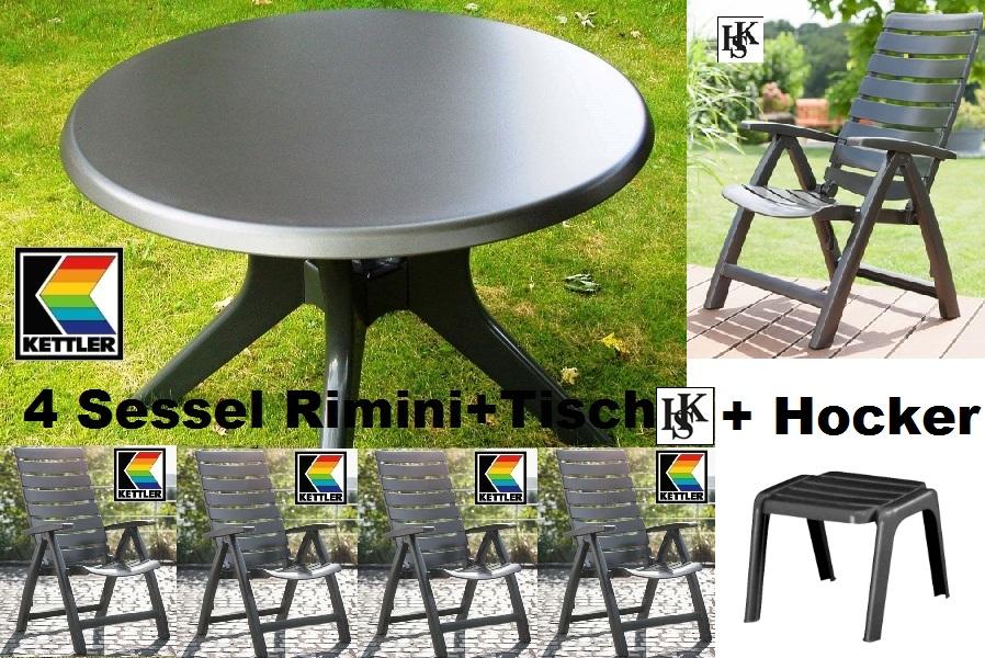 KETTLER HKS GARTENMÖBEL 4 SESSEL RIMINI HOCH + TISCH + HOCKER