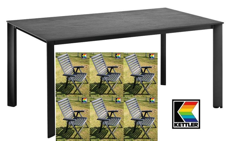 kettler gartenm bel set alu kettalux lofttisch schiefernoptik 6 sessel wave grau ebay. Black Bedroom Furniture Sets. Home Design Ideas